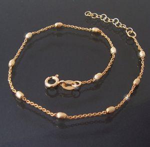 Fußkette Fuß Kette 925 Silber Gold 24-27cm Perlen Schmuck 14512G-27