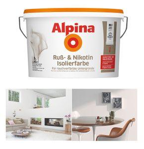 Alpina Ruß- & Nikotin Isolierfarbe, 5 Liter Weiß Matt Rußflecken, Nikotinflecken