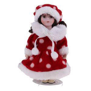 20cm  Victoria Doll Stehende Sammlerpuppe Winterkeramikpuppen Farbe rot