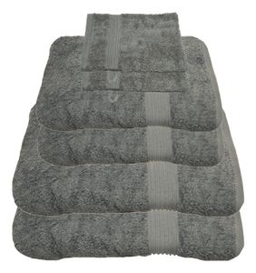 Julie Julsen® Handtuch Sets, Farbauswahl:Silbergrau, Auswahl Handtuchset:6 tlg. 2 Bade- 2 Handtücher + gratis 2 Waschhand..