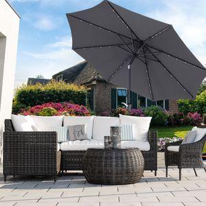 SONGMICS Ø 3 m Sonnenschirm mit LED-Solar-Beleuchtung | Gartenschirm UV-Schutz bis UPF 50+ | knickbar mit Kurbel ohne Ständer grau GPU33GY