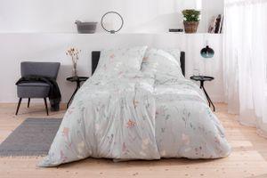 """Estella Mako Jersey Bettwäsche """"Noam"""" 6924 Baumwolle, Blumen, bleu : 155x220 cm + 80x80 cm"""