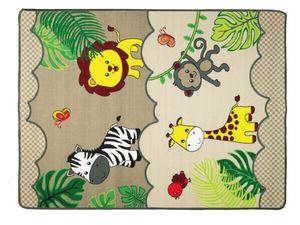 Kinderteppich mit Tieren SAFARI - 133 x180 cm, Spielteppich für Mädchen und Jungen