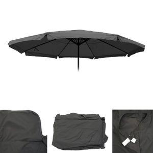 Bezug für Sonnenschirm Meran Pro, Gastronomie Marktschirm mit Volant Ø 5m, Polyester  anthrazit