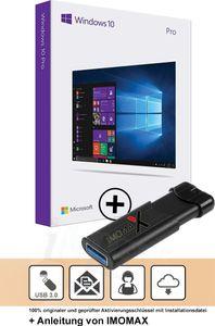 Microsoft Windows 10 Professional Vollversion MS Win10 W10 Pro 32/64Bit + 3.0 USB Stick - IMOMAX®