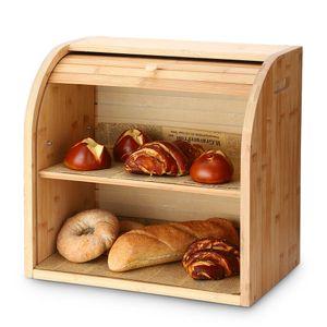 G.a HOMEFAVOR Brotkasten Brotbox 2 Schicht Bambus Brotkorb Brotbeh?lter mit Rolldeckel £š38cm*25cm*36cm£©