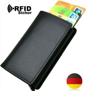 Herren Echt leder Geldbörse echtes Leder klein slim Brieftasche für Männer, Brieftasche ohne Münzfach Geldklammer bis zu 8 Karten, RFID-Schutz Kreditkartenetui Portemonnaie Pop Up