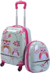 GOPLUS Kinderkoffer 2 TLG. mit Rucksack Kinder Reisekoffer Set Kinder Trolly Kinder Gepaeck Eule