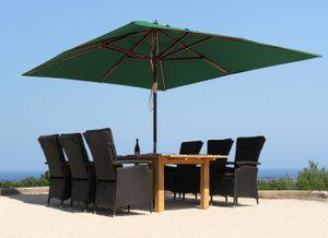 Grasekamp Holz Sonnenschirm 300x300cm Polyester  Grün Gartenschirm Sonnenschutz UV50+  Quadratisch