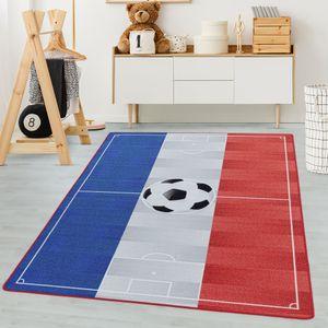 Kinderteppich, Kettelteppich Digital Druck, Fussball Frankreich, Waschbar BLAU, Maße:160 cm x 230 cm