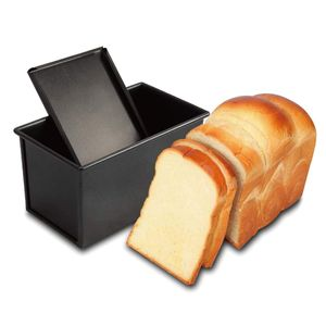 Für 450g Teig Toast Brot Backform Gebäck Kuchen Brotbackform Mold Backform mit Deckel(Schwarz-Rechteck-Glatt)