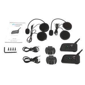 2 Sets V6-1200 Motorrad Bluetooth Headset / Intercom 1200M Bereich Freisprechsprechanlage Sturzhelm-Kopfh?rer Schwarz fš¹r sechs Motorradfahrer