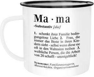 Emaille Tasse Becher Mama Definition Dictionary Wörterbuch Duden Geschenk für Mama Mutter Kaffeetasse Moonworks® Mama weiß-schwarz unisize