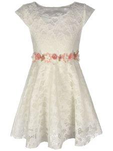 KMISSO Mädchen Kleid mit Spitze Weiß 104