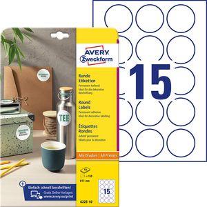 AVERY Zweckform Kennzeichnungs-Etiketten Durchmesser: 51 mm weiß rund 150 Etiketten