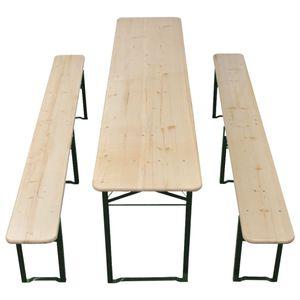 vidaXL Klappbarer Biertisch mit 2 Bänken 220 cm Tannenholz