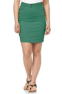 Damen Rock Jeans Chino Optik Knielang Stretch Midi Skirt Schlitz, Farben:Grün, Größe:48
