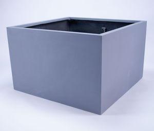 Elegant Einrichten Pflanzkübel Blumenkübel Fiberglas niedrige quadratisch 110x110x70cm grau., Farbe:Grau (wie Betongrau)