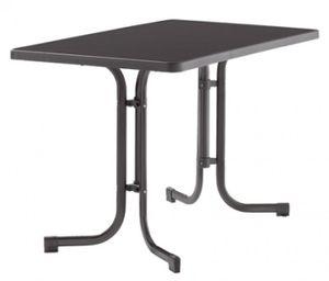 SIEGER Gartentisch / Klapptisch 115x70cm Stahl grau/Mecalit anthrazit