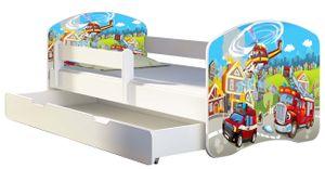 ACMA Jugendbett Kinderbett Junior-Bett Komplett-Set mit Matratze Lattenrost und Rausfallschutz Weiß 36 Feuerwehr 180x80 + Bettkasten