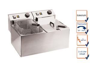 Profi Doppel Fritteuse, Edelstahl, 2 x 8 Liter, 2 x 3000W, Thermostat bis 190°C