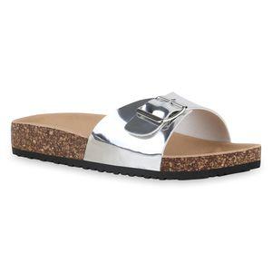 Mytrendshoe Damen Sandalen Pantoletten Sommer Schlappen Hausschuhe 830089, Farbe: Silber, Größe: 40