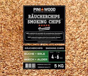 PINI 5 Kg Räucherchips Buche und Erle gemischt 4-6 mm Smoking Chips Räucherspäne