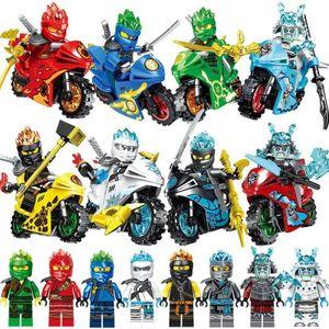 8 teile/satz DISNEY Ninja Bausteine Motorrad Kai Jay Cole Zane Lloyd Action Figur Ziegel Modell Spielzeug Geschenk Für Jungen kinder