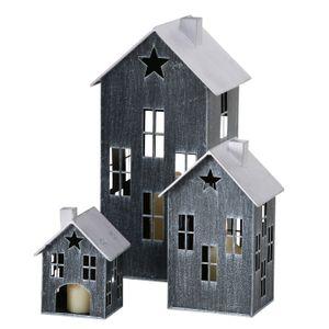Laterne HALLEIN 3er Set in Hausform - Eisen schwarz lackiert
