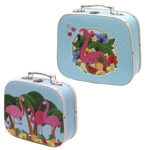2er Set Koffer aus Holz mit Kunststoffüberzug Flamingo
