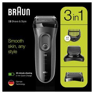 Braun Series 3 Shave&Style 3000BT Elektrorasierer, Rasierer für Herren, schwarz