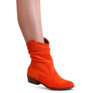 topschuhe24 1751 Damen Velours Stiefeletten Cowboy Stiefel, Farbe:Orange, Größe:37 EU