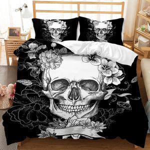 Bettwäsche 3D Skull mit Blumen Bettbezug Set 200x200 cm Bettwäsche Set 3 Teilig Bettbezüge Mikrofaser Bettbezug mit Reißverschluss und 2 Kissenbezug 50x75cm