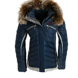 Almgwand Draugstein Damen Kapuzen Ski Winter Jacke marine blau - Groesse: 42 mit Fellkragen