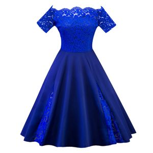 Frauen Plus Size Mode Solid Lace Patchwork Kurzarm Party Cocktailkleid Größe:5XL,Farbe:Blau