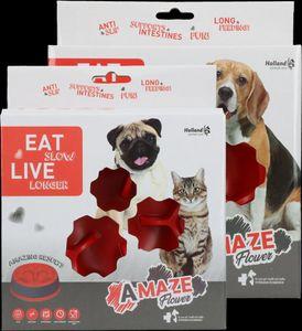 Hundenapf Anti Schling Napf für Hunde ø16 cm - Eat slow Fressnapf Rot