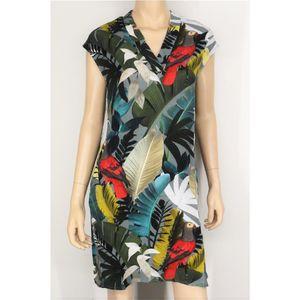 Geisha Fashion modisches Damen Kleid mit buntem Dschungel Druck, Viskose