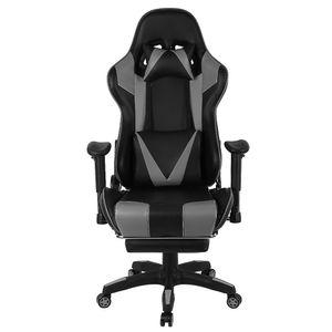 Gaming Stuhl Bürostuhl Chefsessel Schreibtischstuhl mit Fußstütze Kunstleder - Grau