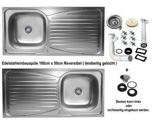 Edelstahl Einbauspüle 100x50cm Küchenspüle reversible Edelstahlspüle Spülbecken 1 Becken mit Abtropffläche