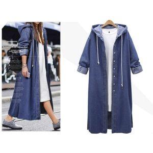 Damen Kapuze Casual Langarm Jeansjacke Long Jean Coat Outwear Mantel LRR80827613 Größe:S,Farbe:Blau