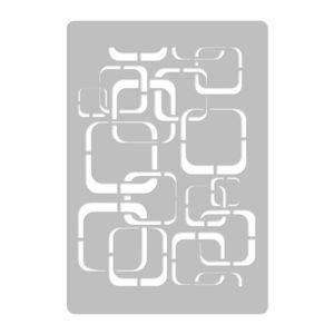 Wiederverwendbare Wandschablone aus Kunststoff // 45x65cm // Retro - Retro Quadrate // Muster Schablone Vorlage