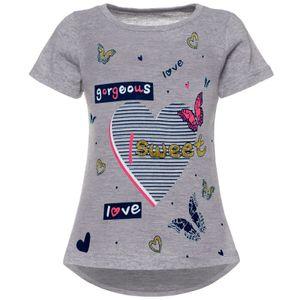 BEZLIT Mädchen T-Shirt mit Motiv Druck und Glitzer Grau 92