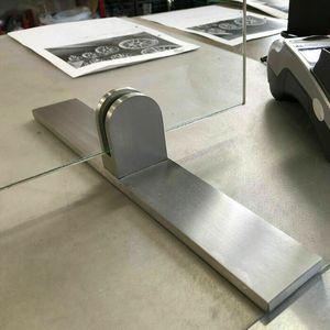 Edelstahl Aufsteller Spuckschutz Tischklemme Glashalter mit Fuß 50x40mm Klemmhalter Tischaufsteller Glas Plexiglas Acryl Glasplatten Halter eckig Glasklemme