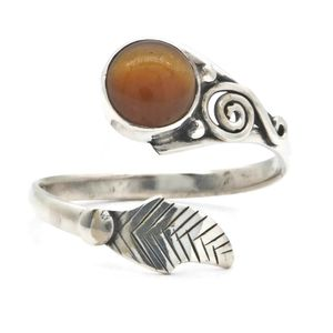 Tigerauge Ring 925 Silber Sterlingsilber Damenringbraun (MRI 149-18),