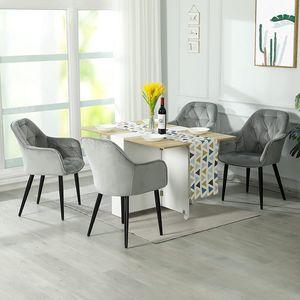 4er Stühle esszimmer grau Esszimmerstühle  Esszimmerstuhl set Samt Küchenstuhl Polsterstuhl Wohnzimmerstuhl Sitzfläche