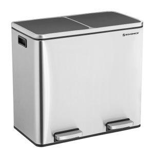 SONGMICS Mülleimer 48 L Edelstahl 2 x 24 L Abfalleimer Treteimer mit 2 Inneneimern Mülltrennung Mülltrennsysteme für Küche LTB48NL