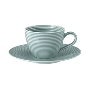 Kaffeetasse 2-tlg. mit Relief - Seltmann Weiden Beat Arktisblau - Porzellan Geschirr NEU