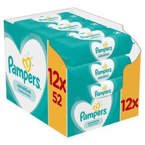 Pampers Sensitive 81687211, Baby-Feuchttuch,  getestet, Hypoallergen, Neutral pH-Wert, Parfümfrei