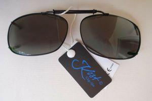 GKA Sonnenbrille Clip Brillenaufsatz für Brillenträger Clip On Metall schwarz mit graugrünem Glas Sonnenbrillenclip Sonnenbrillenaufsatz
