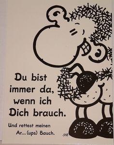 Sheepworld - 50568 - Postkarte, Nr. 8, Schaf, Du bist immer da, wenn ich Dich brauch. und rettest meinen Ar...(ups) Bauch, Pappe
